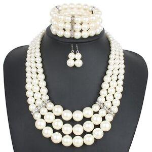 Resin Pearl Beads Statement Chunky Choker Fashion Strand Chain Bib Necklace Set