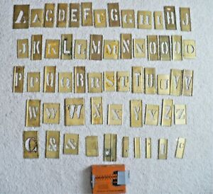Vintage Lot 57 Brass Stencils Reese Letters & Punctuation~Assorted Sizes
