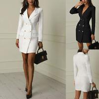 Women Short Bodycon Long Double Breasted V-neck Work Dress Sleeve Lapel Blazer