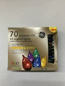 GE Multi Colored Christmas Lights C5 Crystal Lights 70 Count
