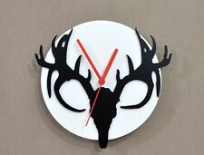 Deer - Black & White Silhouette - Wall Clock