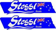 Stessl, 3 Colour, Fishing, Boat, Sticker Decal Set of 2