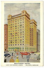 BALTIMORE MD Southern Hotel Illustrated Vtg Postcard