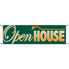 3' x 10' OPEN HOUSE BANNER WITH ROPE AND GROMMETS- IN STOCK READY TO SHIP!