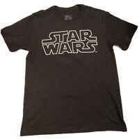 Men's Star Wars Charcoal Gray TShirt Original Galaxy Logo Graphic Tee Sz Medium