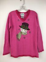 Quacker Factory Women's Pink Snowman TopHat Beaded Sequin Christmas Sweater