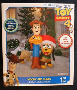 Toy Story Christmas WOODY & SLINKY DOG Large Inflatable!  6 FEET WIDE!