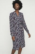 LONG TALL SALLY Leaf Print Navy Viscose Shirt Dress SIZE 16