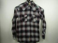 Vintage Mens Bit & Bridle LT Plaid Long Sleeve Pearl Snap Western Flannel Shirt