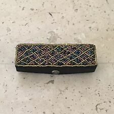 Lipstick Case with Mirror Multi Color Glass Beaded Top Satin Body Design.
