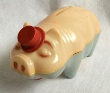 Vintage Hard Plastic Piggy Bank Wes Co Made in USA Tips Red Hat Pink Blue