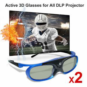 2X DLP HD Active 3D Brille für Optoma Acer BenQ Projektoren Wiederaufladbare DE