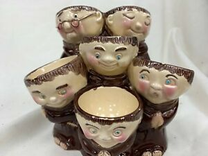 Collectors Item Kitchenalia Weiss Ceramic 6 Monk Themed Egg Cup Holder #407