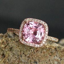 Diamond 2.69 ct Natural Sapphire Gemstone Rings Solid 14k Rose Gold Cushion Cut