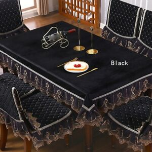 Rectangle Table Cover Cloth Velvet Embroidered Lace Trim Tablecloth Decor Luxury