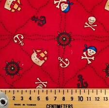 pirate ship skull anchor on red cute kids cotton fabric FQ 1/4 yd