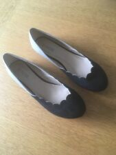 Fiore Ladies Ballerina Shoe In Black Suede And Stone Patent Size 5