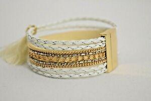 Ladies Bracelet Retro Leather Multi Wrap Wristband Bracelet Vintage Charm Beads