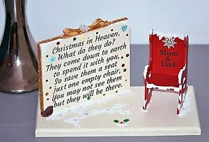 Christmas In Heaven Save A Chair Poem, Plaque Decoration Can Be Personalised.