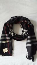 New Woman Fashion Scarf Burberry Col. Black Cashmere Made in Scotland