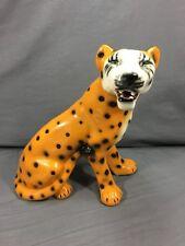 "Vintage Cheetah Figure Sculpture Decor Hand Painted Ceramic Jungle Cat 13"" Tall"