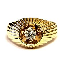 10k yellow gold .27ct I1 I round diamond solitaire mens gents ring 5.6g vintage