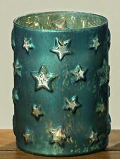 Windlicht Glas petrol Sterne  Kerzenhalter Weihnachtsdeko Höhe 15 cm