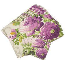 8pc Set 4 Placemats & 4 Coasters Cork Table Settings Mats Purple Floral Flowers