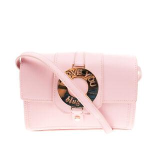 RRP €155 BLUGIRL BLUMARINE Crossbody Bag PU Leather Logo detail 'I LOVE YOU'
