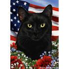 Black Shorthair Patriotic Flag