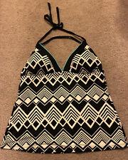 A N A ana Womens Tankini Top Size 12 Tie Halter Swim Black Off White Geometric