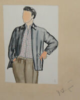 Vintage Gouache Painting Male Costume Design Signed