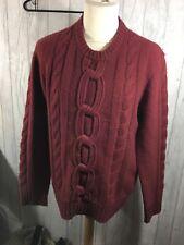 Mens Reiss REISS Burgundy / Dark Red Pull over patterned Jumper Size L