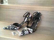KAREN MILLEN - Blue Floral, Ankle Strap Occasion Shoes UK 5/38 - Spare Heel Tip