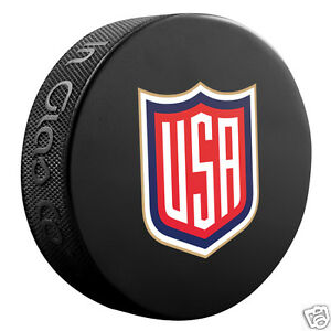 Team USA 2016 World Cup of Hockey SOUVENIR LOGO PUCK Sher-Wood In Glas Co