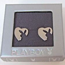 Playboy Earrings Ear Stud Silver Plated Jewelry Stainless Steel Heart Bunny NEW