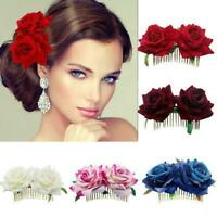 Bridal Boho Rose Flower Hair Comb Clip Hairpin Wedding Hair DIY Accessorie L6U8