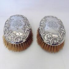More details for pair of solid silver back brushes