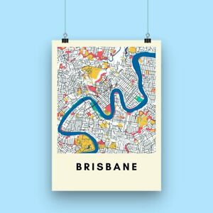 Brisbane City Map Print - Multicolored Illustrated Map Poster A3 size