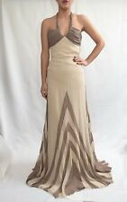 Temperley London Ivory/Brown Fully Lined Sample Silk Dress Size 8, .....E