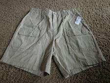 CROFT & BARROW mens NWT sz 32 cargo beige flat front side elastic cotton shorts