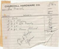 U.S. Churchill Hardware Co. 1916 Sold to Geo. Marsh Nails Etc Paid Invoice 42625
