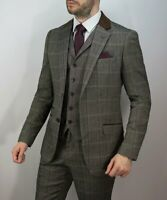 MENS CAVANI CONNALL 3 PIECE BROWN CHECK TWEED SLIM FIT SUIT - GREAT FOR WEDDINGS