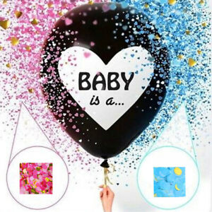 Gender Reveal 36'' Latex Giant Balloon Kit Blue and Pink Confetti Baby Shower