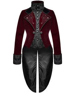 Devil Fashion Womens Gothic Tailcoat Jacket Red Velvet Black Brocade Steampunk