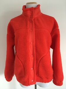 Old Navy Womens Red Teddy Sherpa Fleece Jacket Unlined Pockets Snaps High Neck M