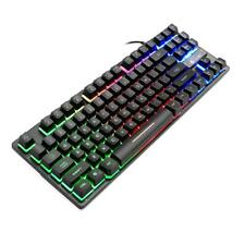 K16 87 Key USB Wired Mechanical 7 Backlight Gaming Keyboard for PC Laptop Game