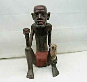 "Afrikanische Holzfigur Skulptur ""Sitzender Afrikanischer Mann"" Handarbeit  42 cm"