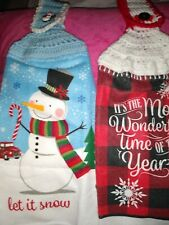 2 Crocheted Hangin Kitchen Dish/Hand Towel Christmas 1 Double 1Single Thickness
