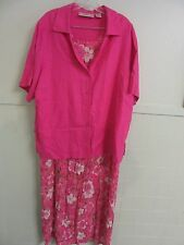 Fashionable! 2 Pc. Pink Floral 100% Rayon Dress & Linen Jacket Set So Lovely!